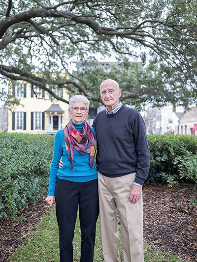 Photo of Frank and Pat Kabela in front of their house in Savannah Georgia