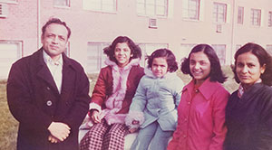 Photos of the Sood sisters Ranjana, Shobana, and Vandana with their parents, Mohinder and Asha Sood.