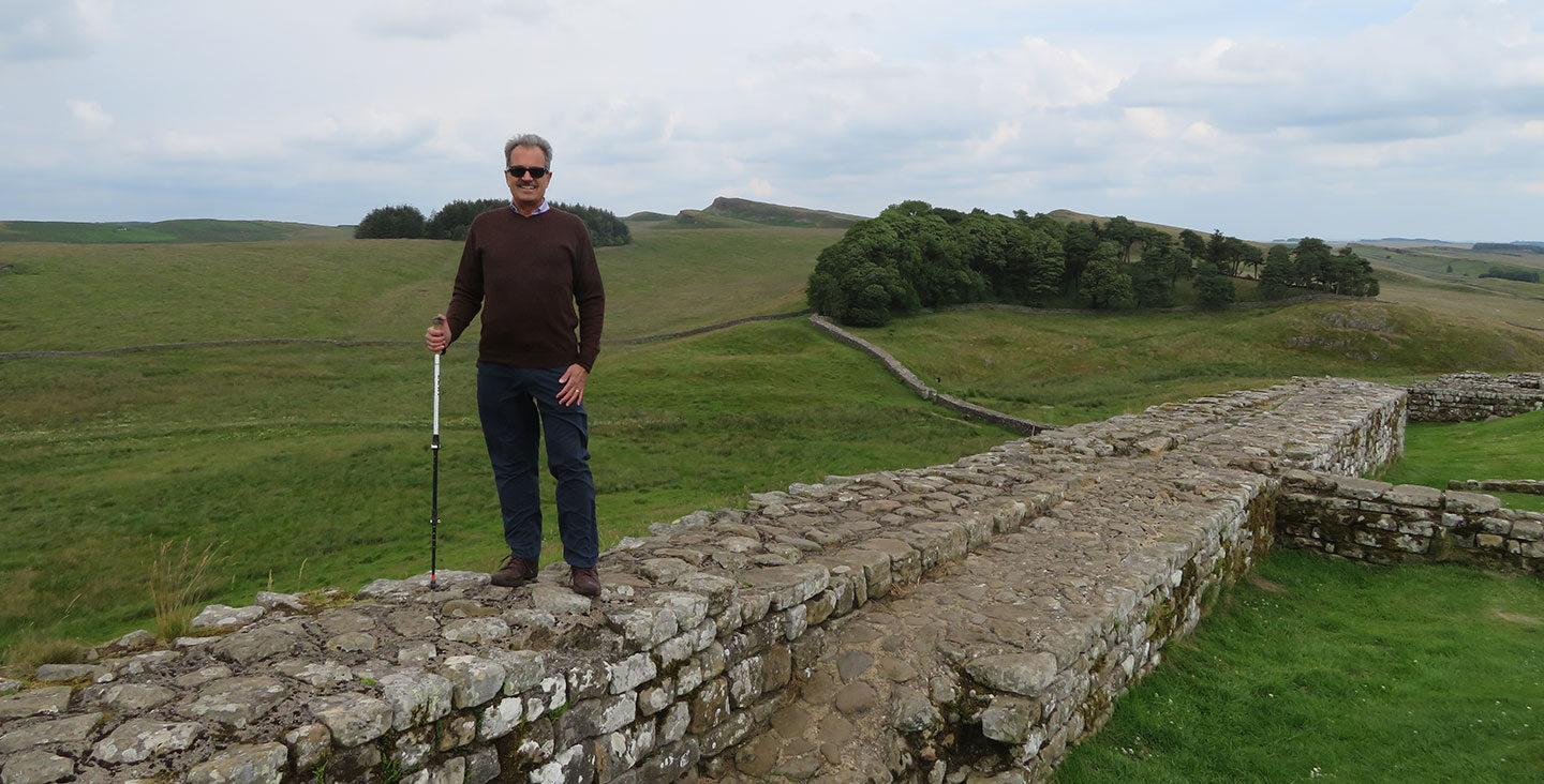 Photo of Gary Rendsburg at Handrian's Wall in the UK