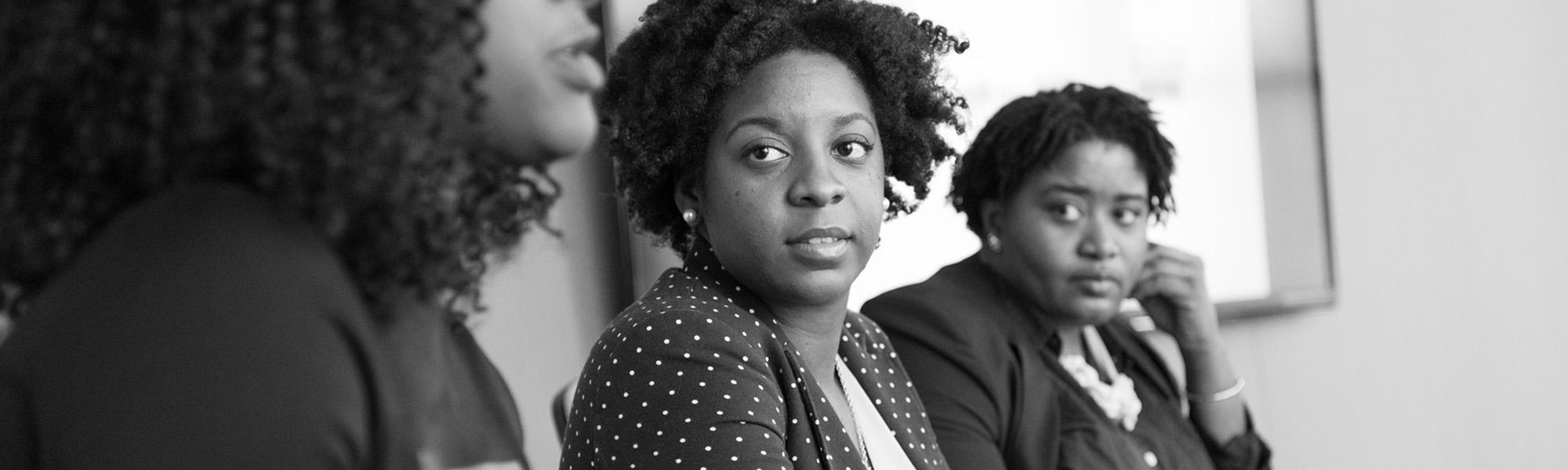 Black women entrepreneurs in a meeting