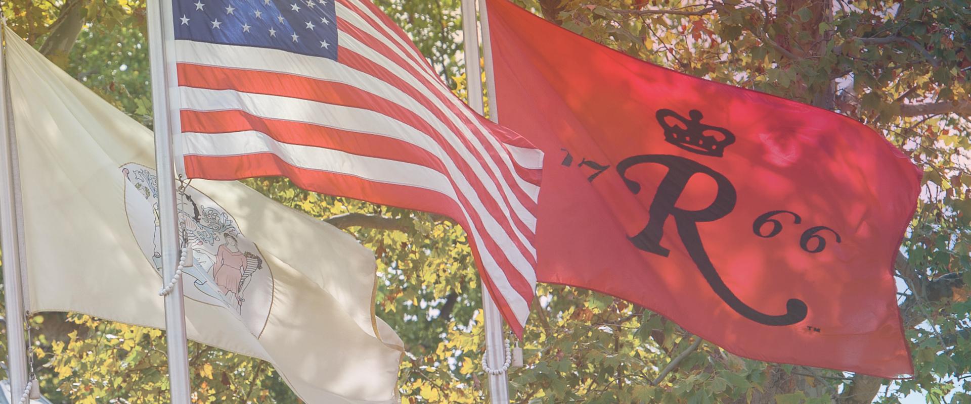 American flag, New Jersey flag, Rutgers flag
